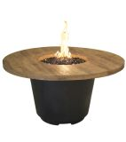 French Barrel Oak Cosmopolitan Round Firetable - Natural Gas