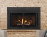 """30"""" Direct Vent Medium Gas Insert with Black Door and Small Surround"""