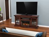 """Aldridge Flat Panel TV Stand With 26"""" Crystal Fireplace insert"""