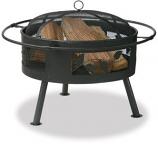 "21.6"" Wide Aged Bronze Firebowl With Leaf Design"