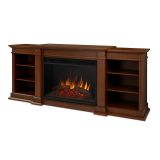 Eliot Grand Entertainment Unit with Electric Fireplace - Black Maple