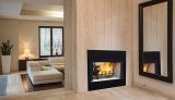 "36"" Radiant See-Thru Wood Burning Fireplace w/White Stacked Panel"