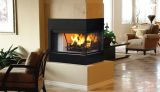 "36"" Radiant Peninsula Wood Burning Fireplace w/White Stacked Liner"