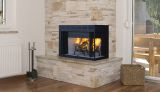 "36"" Louvered Right Corner Wood Burning Fireplace w/White Stacked Panel"