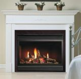 "33"" DV MV Gas Fireplace w/Logs and Brushed Chrome Grill Kit - NG"