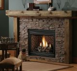 "36"" 22K BTU DV IPI Fireplace w/BO Logs & Antique Brass Grill Kit - LP"