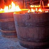Oil Rubbed Finish Wine Barrel Firepit
