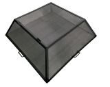 "24"" x 24"" Square Carbon Steel Fire Pit Screen with Hinged Access Door"