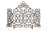 Artisan Cast Iron 4-Panel Scroll Screen with Arch- Bronze