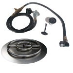 "24"" Stainless Fire Pit Ring Burner Kit with Pan, LP Connection Kit"