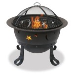 Wood Burning Bronze Fire Bowl With Stars And Moon