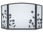 3 Panel Forged Floral Screen-Black