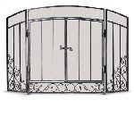 3 Panel Renaissance Screen with Doors-Brushed Bronze