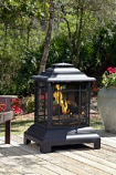 Black Heat Resistant Painted Steel Pagoda Patio Fireplace