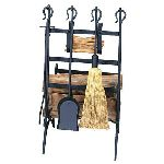 Black Log & Kindling Rack W/ Firetools
