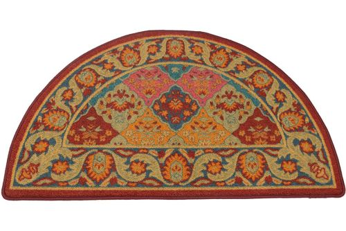 Multi/Burgundy Half Round Hearth Rug - 43 inch