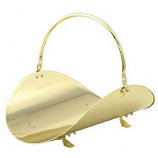 "19"" Polished Brass Woodbasket By Blue Rhino"