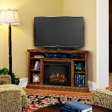Churchill Corner Oak Entertainment Unit and Electric Fireplace