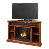 Churchill Corner Oak Entertainment Unit and Gel Fuel Fireplace