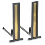 Grand Tower Andirons-Antique Brass / Black