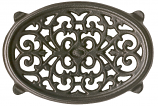 Black Matte Small Oval Filigree Trivet