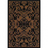 Orian Texture Weave Rug, Flame Resistant, Scroll Black