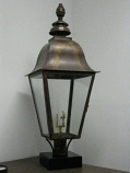 Quebec Large Copper Post Mount Lantern