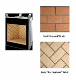 Marquee Mosaic Masonry Indoor Firebox with Red Stacked brick - 42""