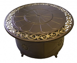 Round Fire Pit in Bronze with Lid - Cast Aluminum