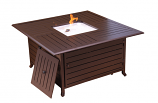 Square Fire Pit in Bronze with Lid - Slatted Aluminum