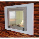 Wellington 2-Sided Built in Fireplace - Gloss White and Steel