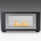 2 Sided Built in Fireplace - Matte Black and Stainless Steel