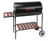 Barrel Charcoal Grill Cart with Side Shelf - 30 x 16""