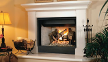 "32"" BRT B-Vent MV Fireplace w/White Stacked Refractory Hearth-NG"