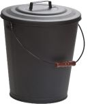 Black Steel 5 Gallon Ash Bucket with Wood Handle - 16 inch
