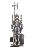 Pewter 5 Piece Knight Fireset - 29.5 inch