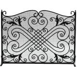 Black Wrought Iron Arched Panel Screen - 33 inch