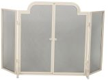 White 3 Fold Wrought Iron Arched Panel Screen - 32 inch