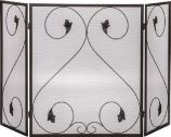 3 Fold Iron Panel Screen with Scroll Design - 28 inch