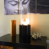 Doppio Noir Tabletop Glass Cylinder Fireplace - Black