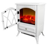 """AKDY AFP18D2PWHT - 16"""" Freestanding Electric Fireplace Heater"""
