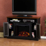 Savannah Media Electric Fireplace-Black and Walnut