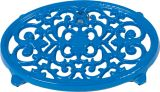"9"" X 6 1/2"" Oval Trivet In Blue Enamel Finish"