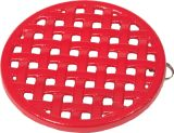 "7 1/4"" Diameter Round Trivet In Red Enamel Finish"