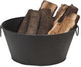 Log Bucket Basket Weave Design - Black Steel