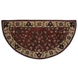 "Woodfield Brick Red Oriental Half-Round Rug, Wool, 22"" X 44"""