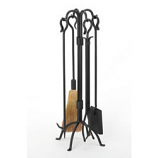 Woodfield Black Wrought Iron 4-Piece Tool Set W/Crook Handles