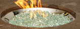 """20"""" Round Crystal Fire Stainless Steel Burner with Glass Fire Gems"""