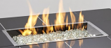 """12""""x 24"""" Rectangular Crystal Fire Stainless Steel Burner with Glass Fire Gems"""
