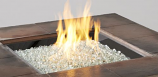 """24"""" x 24"""" Square Crystal Fire Stainless Steel Burner with Glass Gems"""